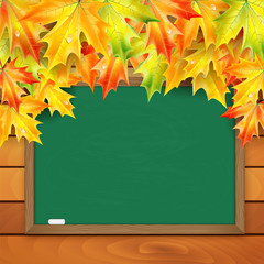 School board and autumn maple leaves on a background of a wooden