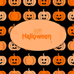 Background with a pattern of pumpkins for Halloween with place f