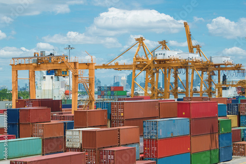 Container terminal with nice sky in Bangkok - 68899391