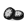 automobile wheels on a white background