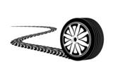 automobile wheel leaving a trace