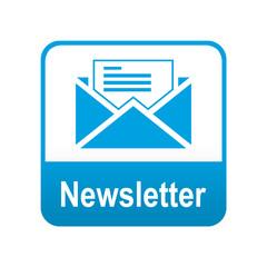 Etiqueta tipo app azul Newsletter