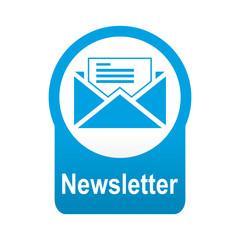 Etiqueta tipo app azul redonda Newsletter