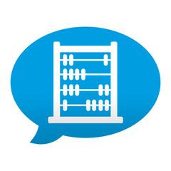 Etiqueta tipo app azul comentario simbolo abaco