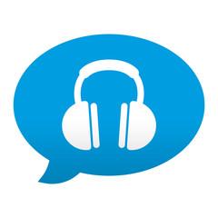 Etiqueta tipo app azul comentario simbolo auriculares