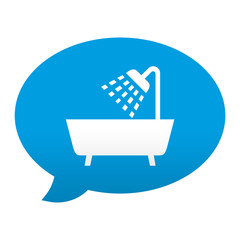 Etiqueta tipo app azul comentario simbolo ducha