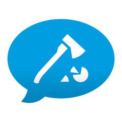 Etiqueta tipo app azul comentario simbolo hacha