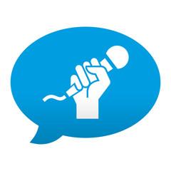 Etiqueta tipo app azul comentario simbolo karaoke