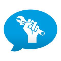 Etiqueta tipo app azul comentario simbolo reparacion