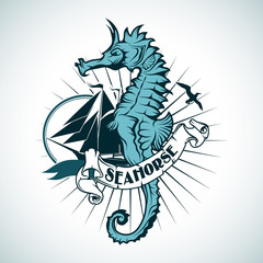 Label with the image of a seahorse. Nautical theme.