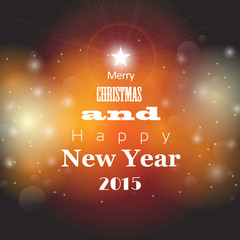 christmas and new year greeting card with abstract bokeh backgro