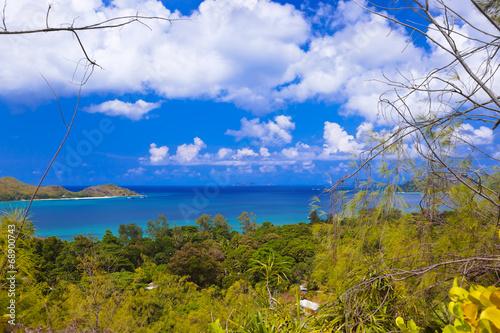 Fotobehang Purper Landscape of island Praslin - Seychelles