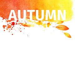 Autumn grunge watercolor background. illustration
