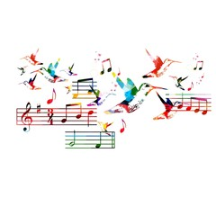 Abstract music background with hummingbirds