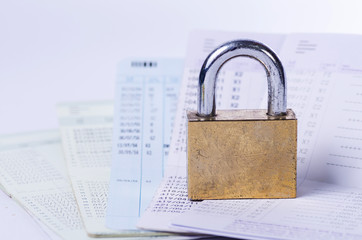 Golden lock on the passbook