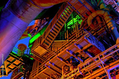 canvas print picture Industrie-Kultur bei Nacht