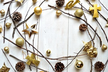 Gold Christmas ornaments with star