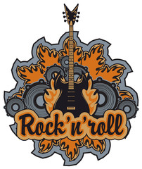 emblem with an electric guitar, rock and roll