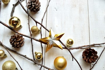 Gold Christmas ornament balls with star