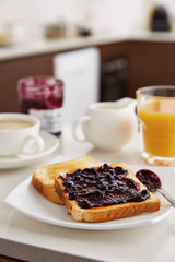 Toasts with jam for breakfast