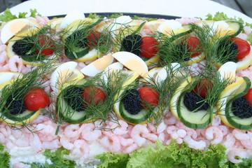 Sandwich gateau with shrimps, caviar and tuna