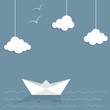 Paper ship and clouds with doodle sea waves and seagulls - 68902554