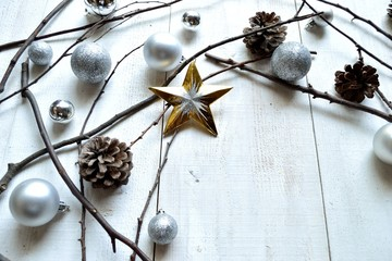Silver Christmas ornament balls with star
