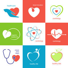 Icons with heart symbol for medicine, health care and cardiology