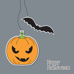 Halloween pumpkin and bat in paper cutout style