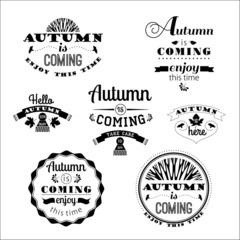 Set of Autumn Labels and Signs