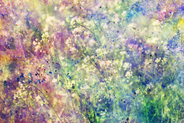grunge colorful watercolor splatter and small blooming flowers