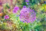 messy watercolor splatter and blooming flowers