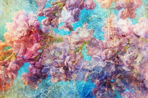 Foto Spatwand Lilac messy watercolor splashes and gentle lilac twigs