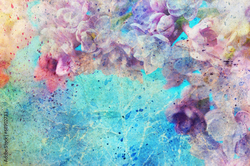Foto op Plexiglas Lilac watercolor splatter and beautiful lilac flowers