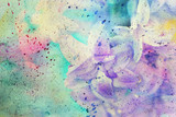 messy watercolor splatter and gentle lilac flowers