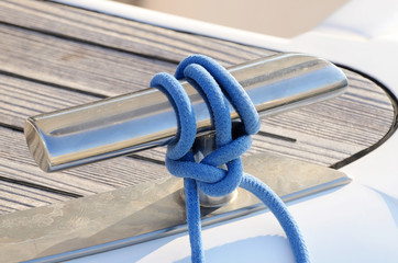 New sailboat knight with blue line, equipment for keeping ropes