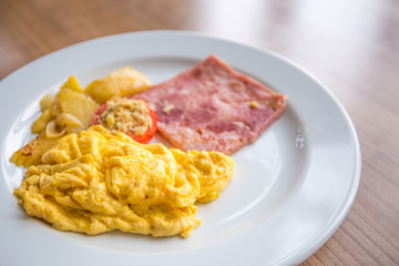 Scrambled eggs as breakfast