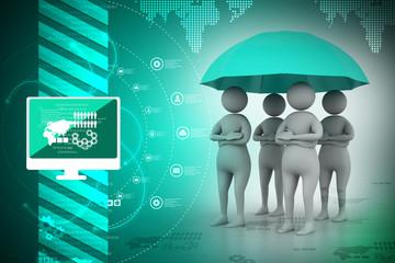3d people under an umbrella, team work concept