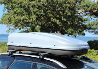 Roof box on car with railing