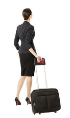 business woman back in airport, businesswoman white isolated