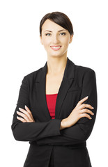 Business woman portrait, businesswoman white isolated