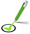 grüner Stift zeichnet einen Haken