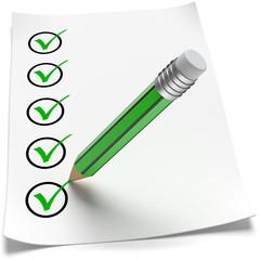Punkte abhaken grüner Stift