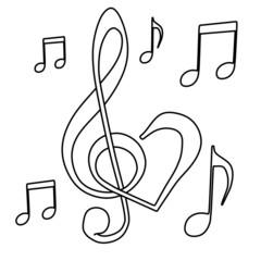 kleurplaat liefde voor muziek
