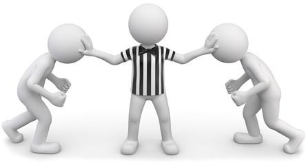 Streitschlichter Schiedsrichter gestreift weiss