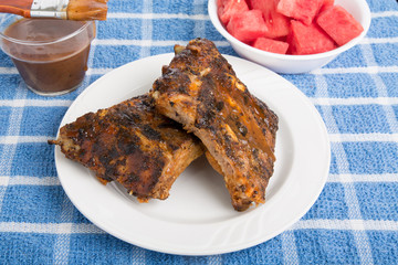 Barbecue Ribs with Sauce and Watermelon