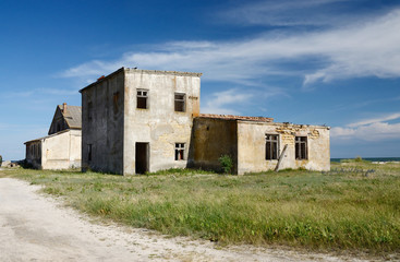 Abandoned houses on wild Tendriv Spit, Ukraine