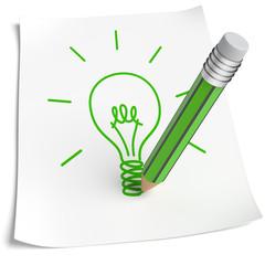 Blatt Papier Glühbirne zeichnen