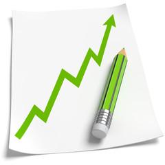 Blatt Papier Wachstumspfeil grüner Stift