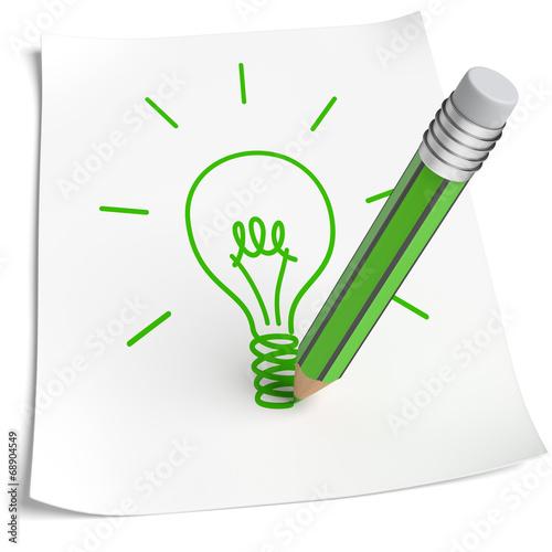 canvas print picture Blatt Papier Glühbirne zeichnen